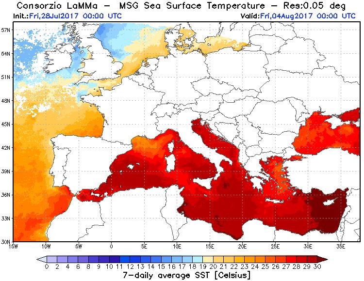 Temperature superficiali marine rilevate negli ultimi 7 giorni (media)