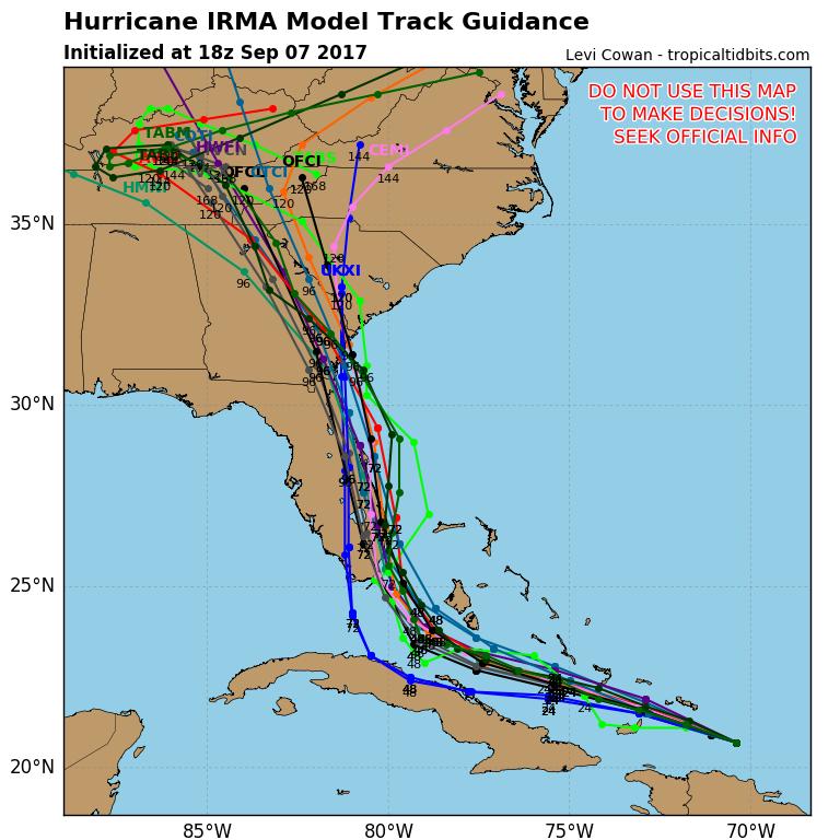 Traiettorie dell'uragano Irma secondo numerosi modelli di proiezione
