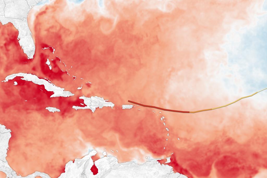 Traiettoria intrapresa dall'uragano Irma e temperature superficiali del mare