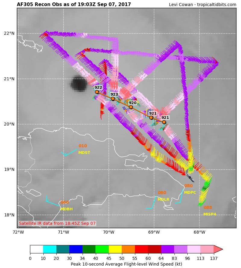 """Dati ottenuti dalle missioni degli """"Hurricane Hunters"""" in volo dentro all'uragano Irma"""