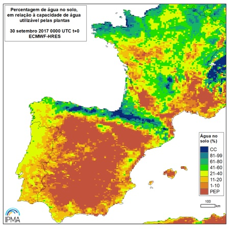 Contenuto di umidità nel suolo aggiornato a fine settembre