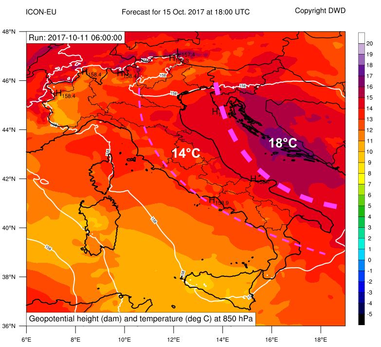 Previsione dell'altezza di geopotenziale e temperatura a 850 hPa