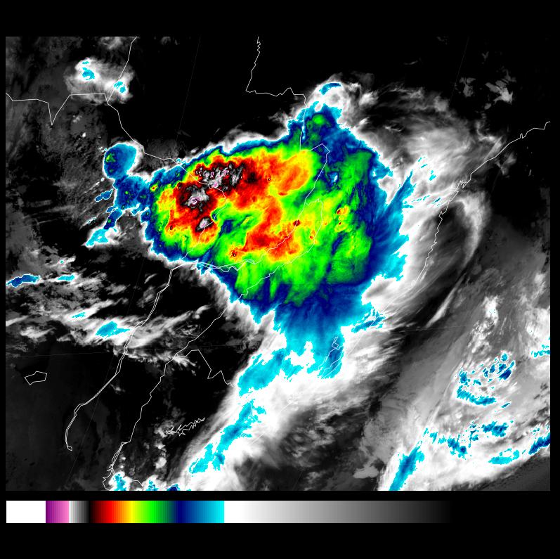 Immagine satellitare nel campo dell'infrarosso che mostra i temporali tra Paraguay ed Argentina