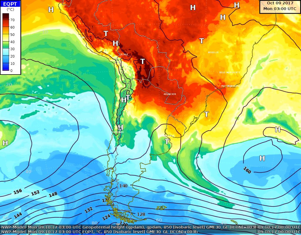 Temperatura potenziale equivalente e geopotenziali a 850 hPa