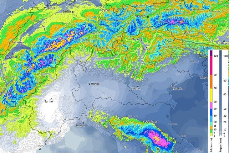 Previsione precipitazioni nevose accumulate fino a martedì