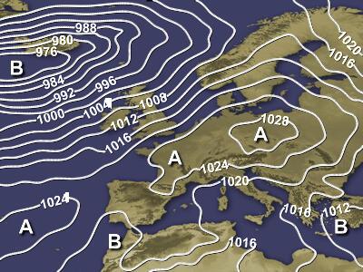 Cartina modellistica indicante la distribuzione della pressione al suolo al livello del mare