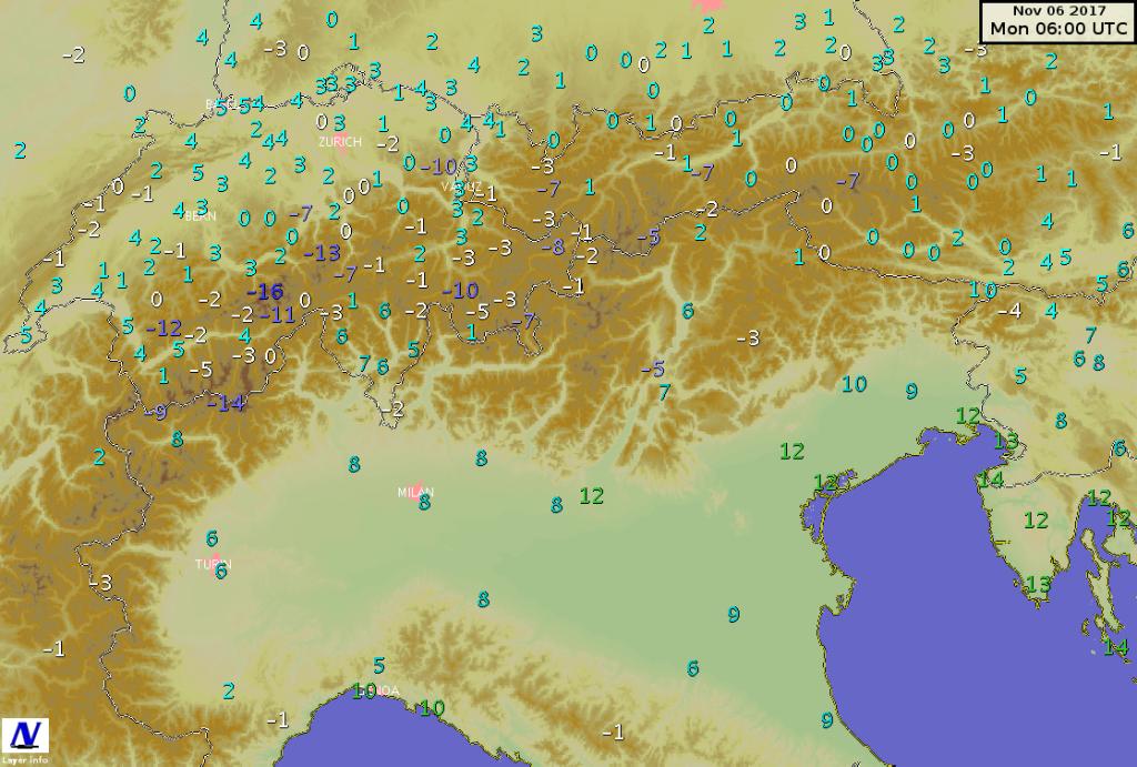 Temperature minime misurate tra domenica e lunedì