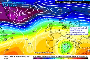 Vortice Artico in azione: Neve, pioggia e aria fredda, l'Italia in pre-inverno! - Vortice in azione sull'Italia. Fonte: meteociel
