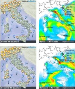 Vortice Artico in azione: Neve, pioggia e aria fredda, l'Italia in pre-inverno!   - Meteo invernale metà settimana. Fonte: meteoindiretta