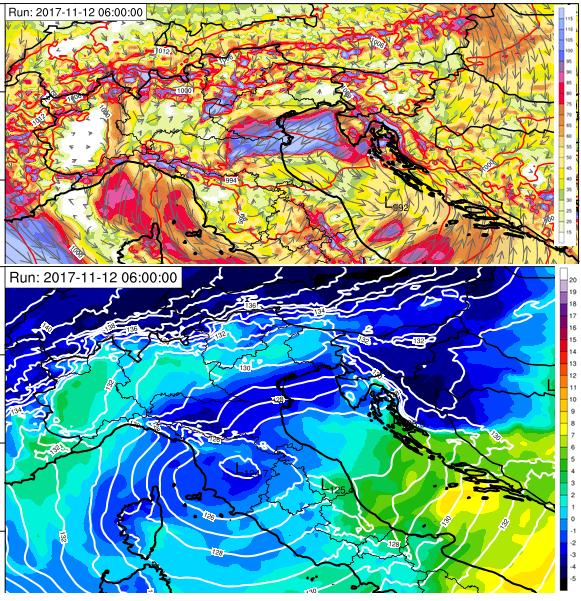 Previsione dei venti a 10 metri di quota (pannello superiore) e altezza di geopotenziale/temperatura a 850 hPa di quota