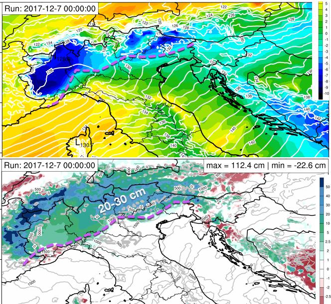 Altezza di geopotenziale e temperatura ad 850 hPa di quota; altezza manto nevoso prevista