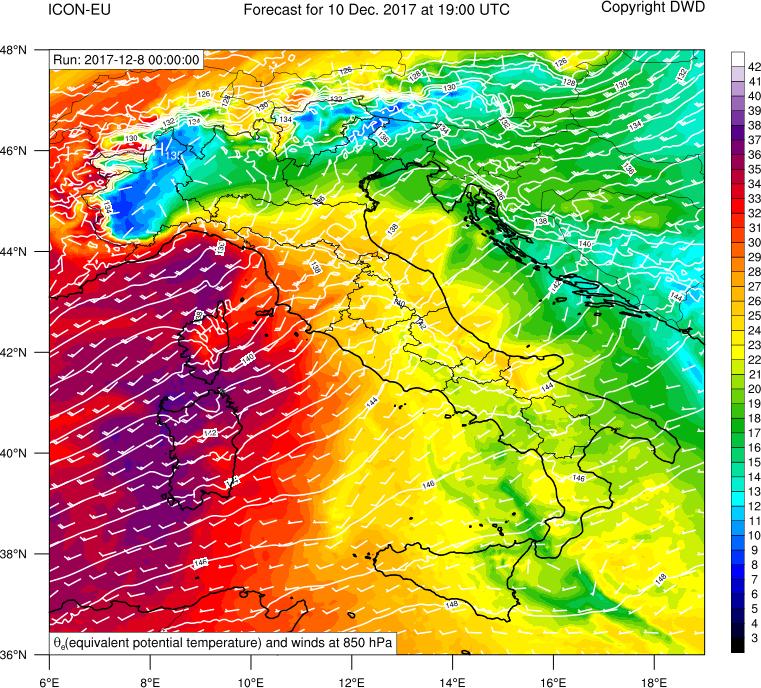 Geopotenziale, venti e temperatura potenziale equivalente a 850 hPa
