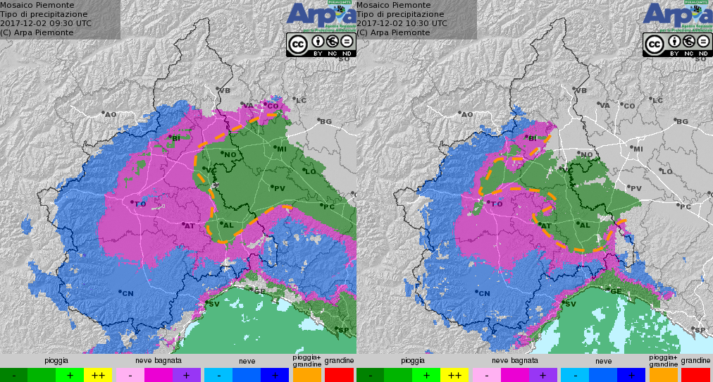 Mosaico radar tipo di precipitazione in Piemonte
