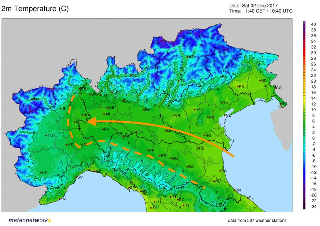 Immagine delle temperature misurate in tempo reale al nord