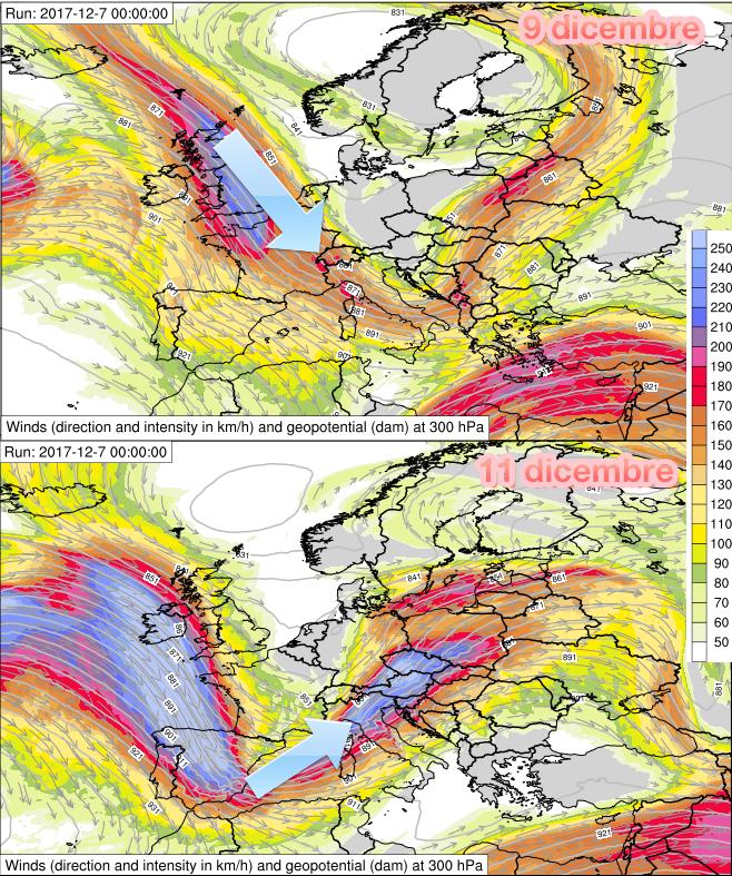 Posizione della corrente a getto prevista sull'Europa tra il 9 ed 11 dicembre