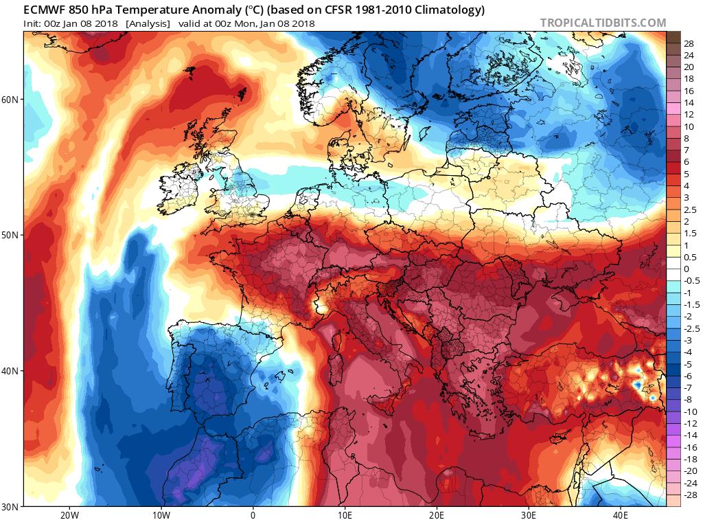 Anomalie termiche relative alla mezzanotte dell'8 gennaio