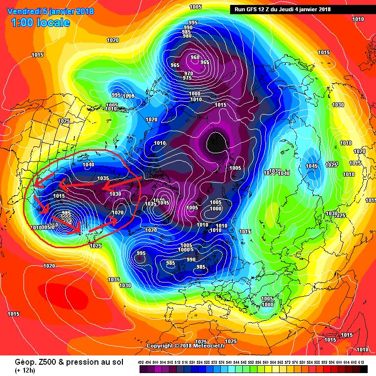 Configurazione barica attuale, su scala emisferica, che permette la rotazione antioraria di parte del Lobo Canadese del Vortice Polare, spesso in moto antizonale (da ovest verso est). Tale movimento spinge il gelo estremo sull'East Coast degli Stati Uniti