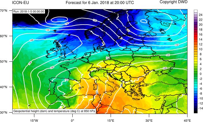 Previsione dell'altezza di geopotenziale e temperatura a circa 1500 metri di quota per la giornata di