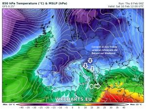 Meteo 9/14 Febbraio: Weekend e San Valentino col cappotto, l'Inverno torna!  - Ingresso freddo nel Weekend. Fonte: wxcharts