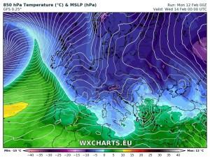 Inizio Settimana e San Valentino con Freddo, Pioggia e Neve a quote basse! - Bolla d'aria fredda protagonista in Italia. Fonte: wxcharts