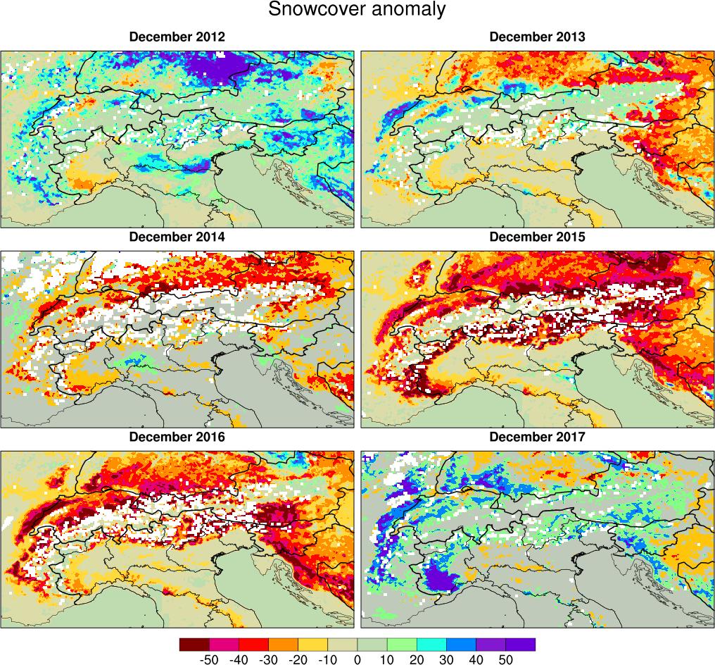 Anomalia della copertura nevosa sulle Alpi per 6 anni consecutivi