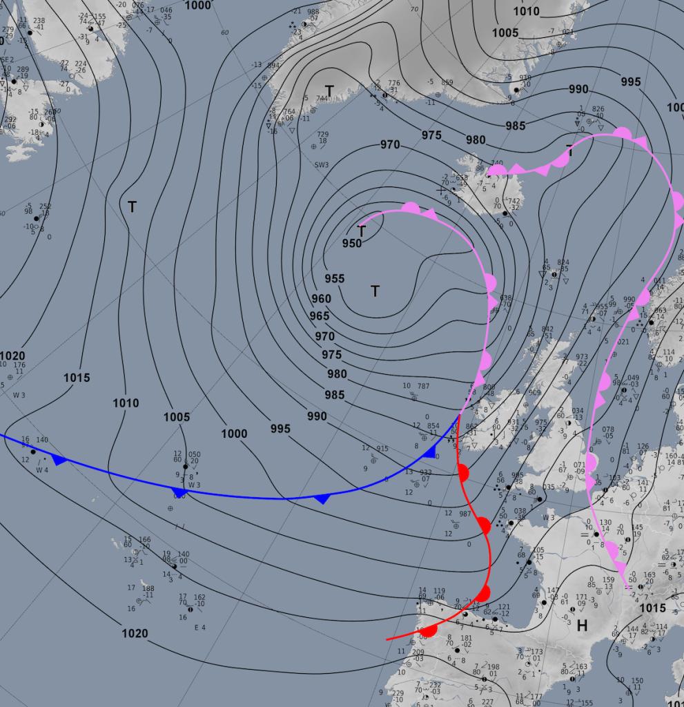 Analisi sinottica del centro meteorologico tedesco relativo alla mattina