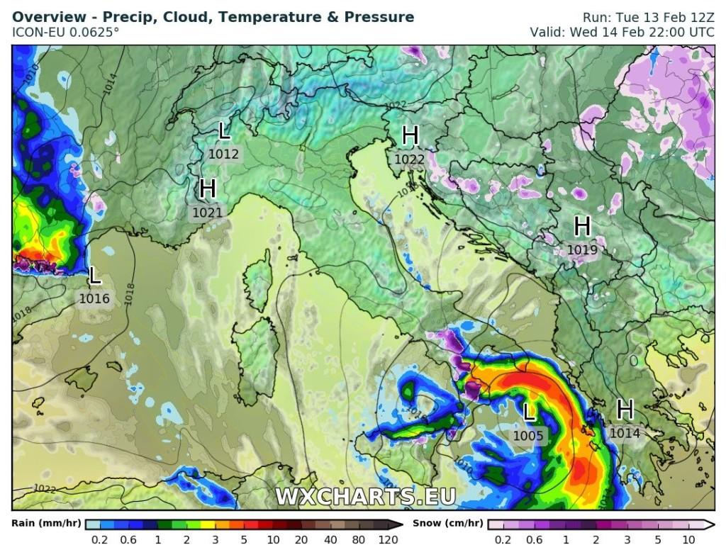 Distribuzione delle precipitazioni per domani, 14 febbraio 2018, ore 22.00