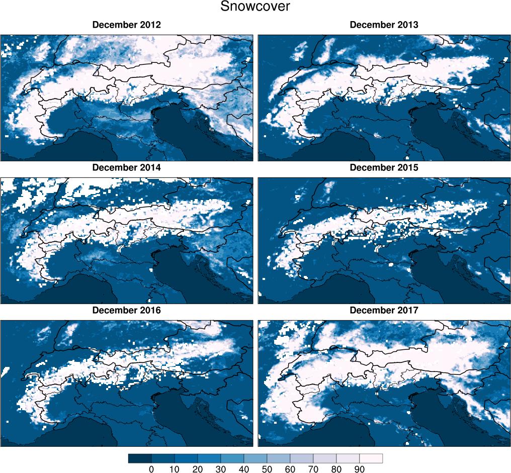 Percentuale di area coperta da neve sulle Alpi per 6 anni consecutivi