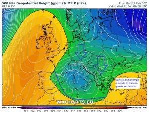 Italia in balia del Freddo e del Maltempo: Piogge, Neve e Nuvole, il Weekend sarà gelo? - Maltempo e freddo ad inizio settimana.Fonte: wxcharts