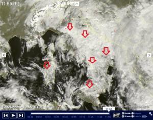 Italia in balia del Freddo e del Maltempo: Piogge, Neve e Nuvole, il Weekend sarà gelo? - Maltempo visto da satellite in tempo reale. Fonte: sat24