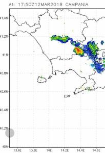 Immagine radar del temporale