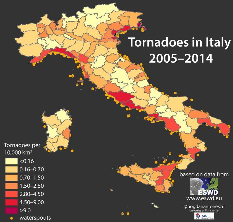Distribuzione di Tornado osservati nel periodo 2005-2014 in Italia secondo il database ESWD