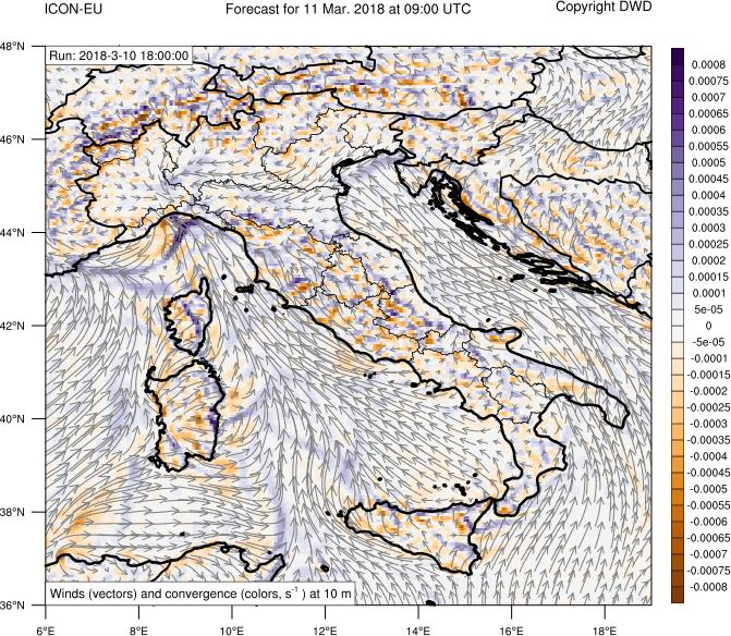 Aree di convergenza/divergenza dei venti a 10 metri dal suolo