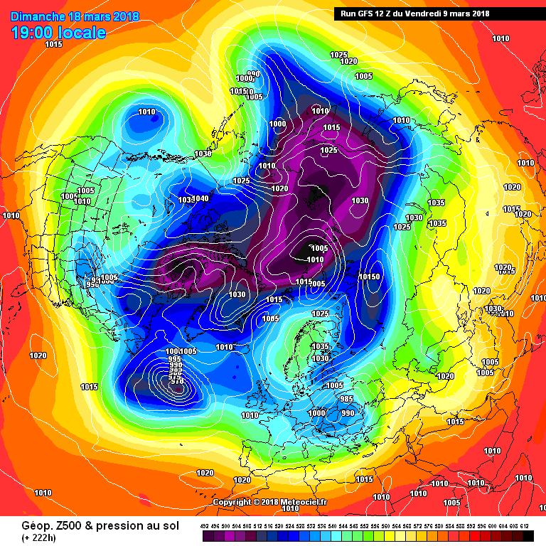 Configurazione barica prevista per il 18 marzo. Circolazione zonale atlantica relega il gelo all'Europa settentrionale e parte di quella orientale. Italia non interessata.