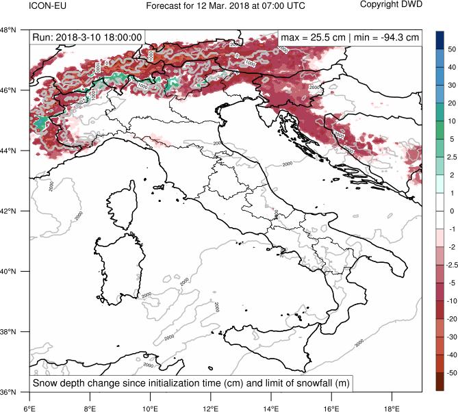 Aumento e fusione del manto nevoso prevista per le prossime 37 ore