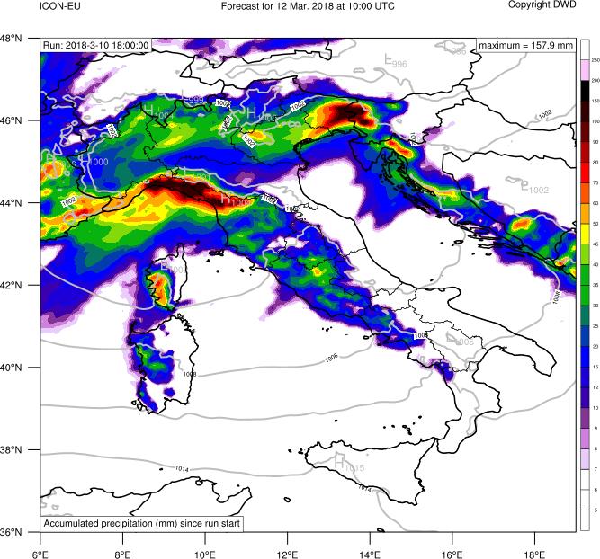 Precipitazioni accumulate previste nelle prossime 40 ore
