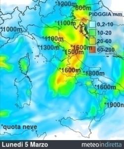 Ripetute ondate di Maltempo non mollano l'Italia: metà Settimana sarà perturbata! - Inizio settimana con piogge. Fonte: meteoindiretta
