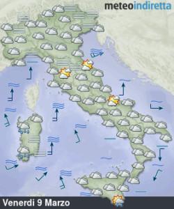 Weekend dal fascino Primaverile: Attenzione le piogge non ci lasceranno, ma dove? - Venerdì nuvoloso. Fonte: meteoindiretta