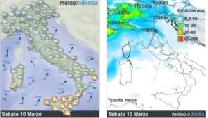 Weekend dal fascino Primaverile: Attenzione le piogge non ci lasceranno, ma dove? - Weekend tempo ballerino. Fonte: meteoindiretta
