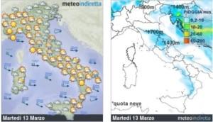 Italia perturbata in Settimana: Maltempo in azione con pioggia e calo termico! - Martedì ancora un pò perturbato. Fonte: meteoindiretta