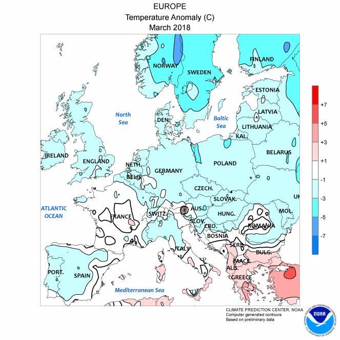Anomalie termiche medie mensili sull'Europa registrate nel Marzo 2018. Fonte : NOAA
