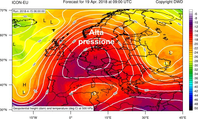 Altezza di gepotenziale e temperatura a 500 hPa previste per il 19 aprile