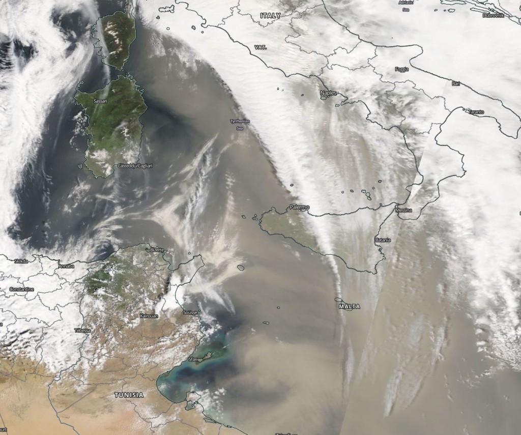 Immagine satellitare in alta risoluzione sul Mediterraneo