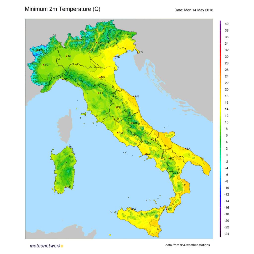 Temperature minime registrate in Italia il 14 maggio