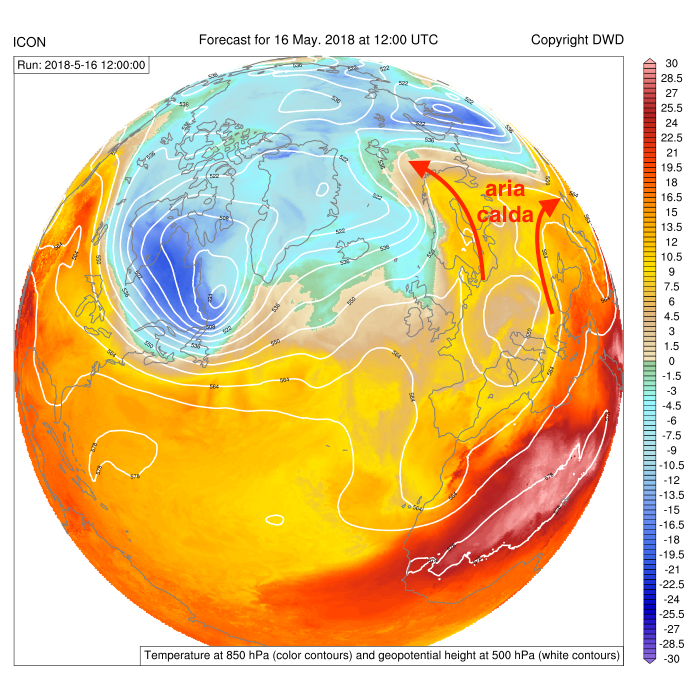 Altezza di geopotenziale a 500 hPa e temperatura a 850 hPa previste dal modello globale ICON