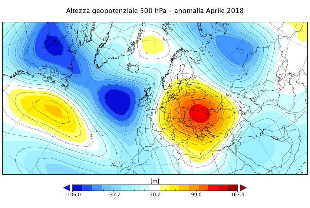 Anomalia dell'altezza di geopotenziale a 500 hPa per il mese di Aprile 2018 - dati da reanalisi NCEP