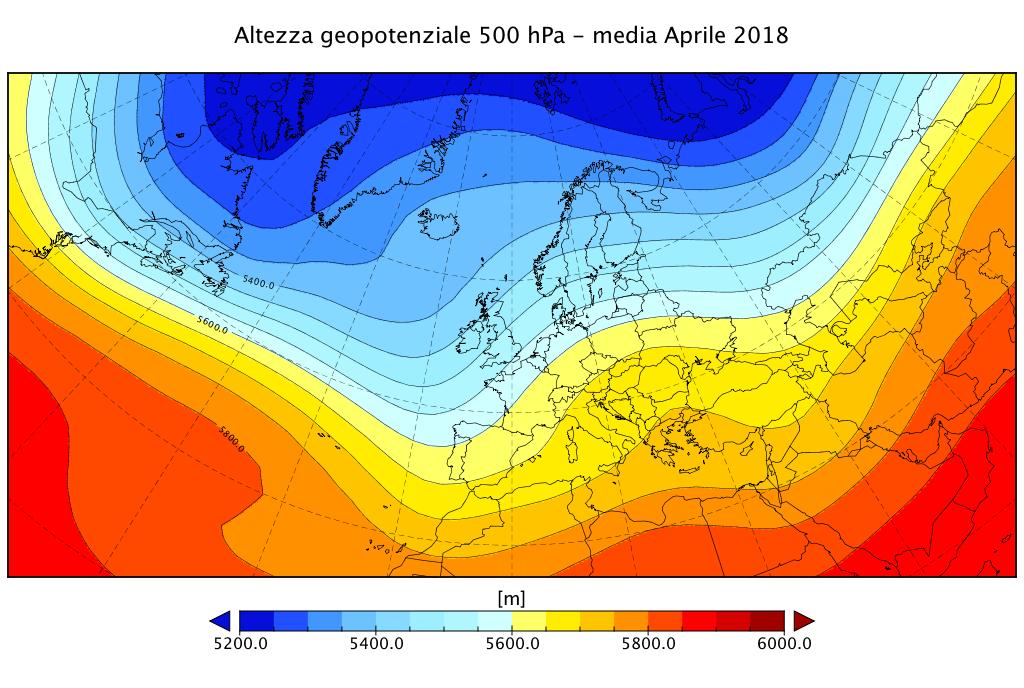 Media dell'altezza di geopotenziale a 500 hPa per il mese di Aprile 2018 - dati da reanalisi NCEP