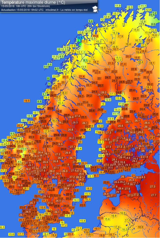 Temperature massime misurate nella giornata del 15 maggio sulla penisola scandinava