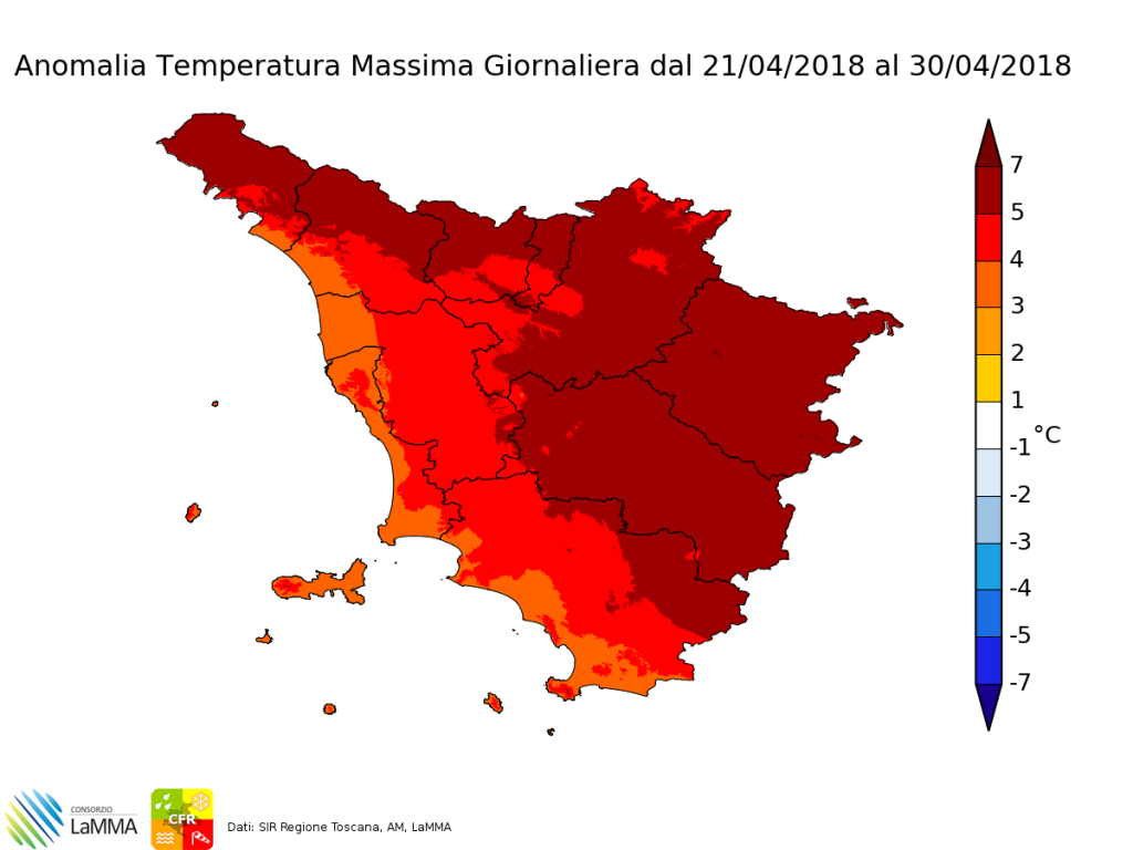 Anomalia temperatura 2 metri per l'ultima settimana di Aprile 2018 - dati SIR Regione Toscana, LaMMa