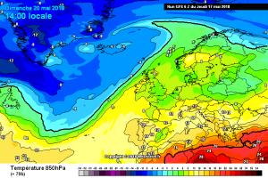 Weekend con ritorno della Primavera: più Caldo ma i Temporali non mollano! - Temperature in aumento nel Weekend. Fonte: meteociel